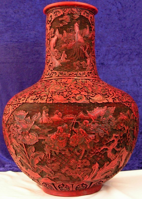79: Large Handcarved Red Cinnabar Urn Lacquered Vase