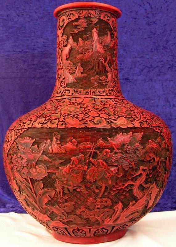 79: Large Handcarved Red Cinnabar Urn Lacquered Vase