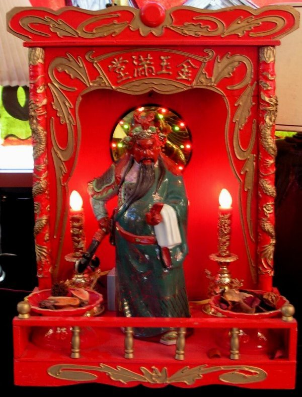 24: Vintage Chinese Warrior Statue in Wood Display Case