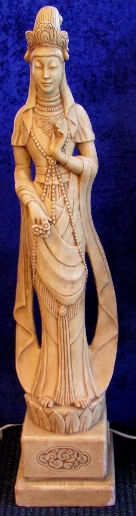 "28: Asian Antique Kwan Yin Buddha Statute. 50"" tall."