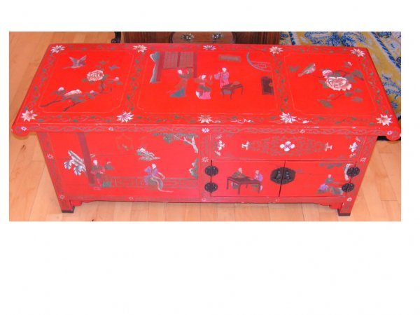 34: Vintage Asian Lacquer Table with Inlaid Art