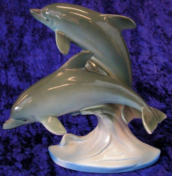 52: Vintage Japanese Porcelain Ocean Dolphins Figurines