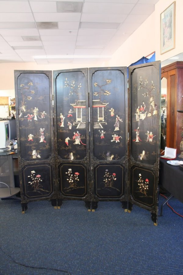 262: Vintage Asian Ivory Screen Laquered Inlaid Art