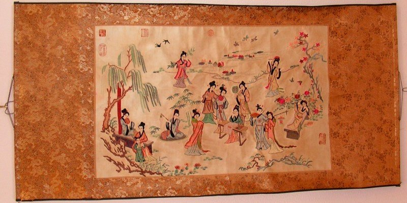 82: Asian Gold Silk Tapestry Scroll Late 19th Century