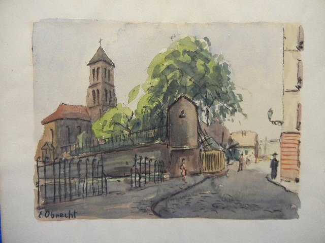 10: Paris France  Watercolor Painting I by E. Obrecht