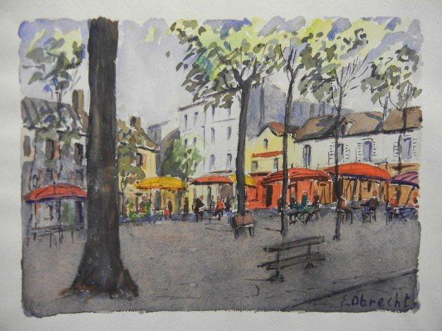 11: Paris France Watercolor Painting  II by E. Obrecht