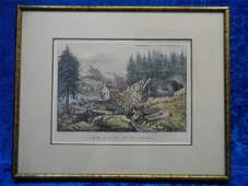 26157 Currier  Ives Gold Mining California Lithograph