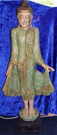 "29: Antique Amarapura Burmese Buddha Statue 4 feet 7"""