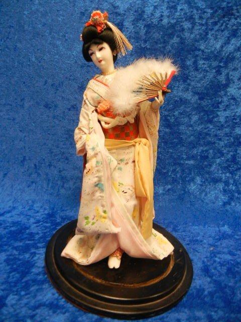 1: Vintage Asian Geisha Figurine with Silk Kimono & Fan