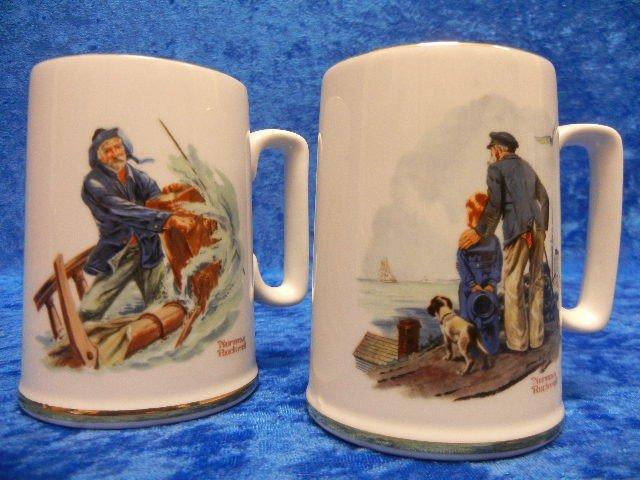11: Norman Rockwell Porcelain Mugs Ship Scenes c1985