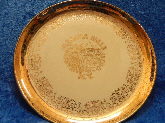 12: Vintage Niagra Falls Gold Plate