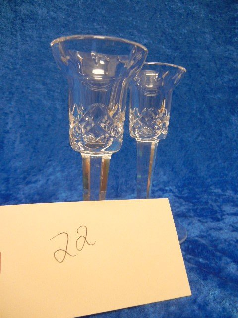 22:  Waterford Cut Crystal Glass Candle Holders