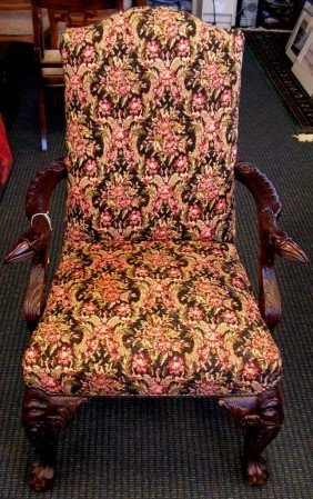 9: 9: Vintage Mahogany Chair with Hand Carved Snake Arm