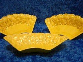 17: 17: Art Deco Ceramic Dishes Yellow Set of Three