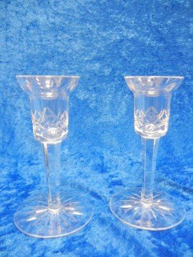 22: 22: Waterford Cut Crystal Glass Candle Holders
