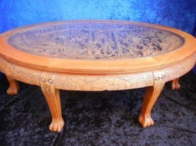 23: 23: Vintage Asian Handcarved Hardwood Table Chairs
