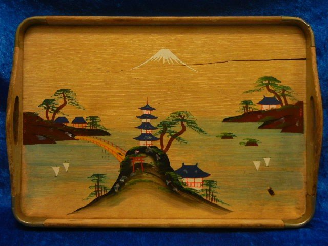 1:  VINTAGE ASIAN JAPANESE WOODEN SERVING TRAY - 2