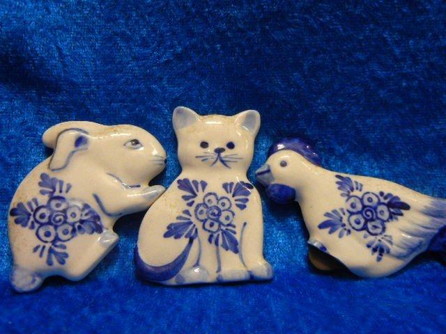 12:  Vintage Porcelain Fridge Animals Set of 3