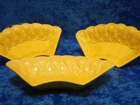 17:  Art Deco Ceramic Dishes Yellow Set of Three