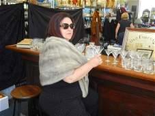 96: Vintage Silver Fox Fur Stole Wrap by Norma Cox