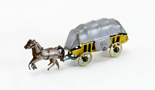 13: German Horse Drawn Covered Wagon Penny Toy