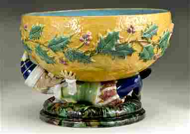 624: Rare Large Majolica Punch Bowl
