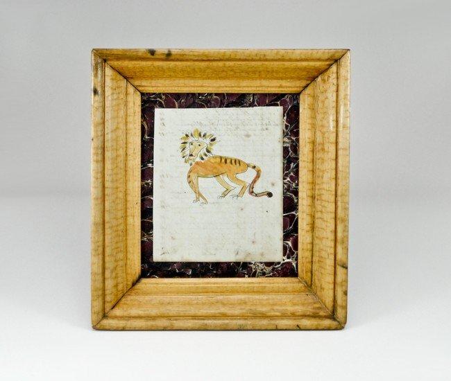 8: Pennsylvania Copy Book Lion Watercolor