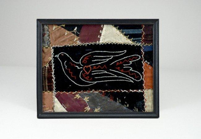 13: Framed Bird and Heart Quilt Piece