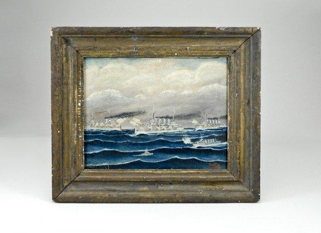 14: 1908 Roosevelt's Fleet Oil Painting