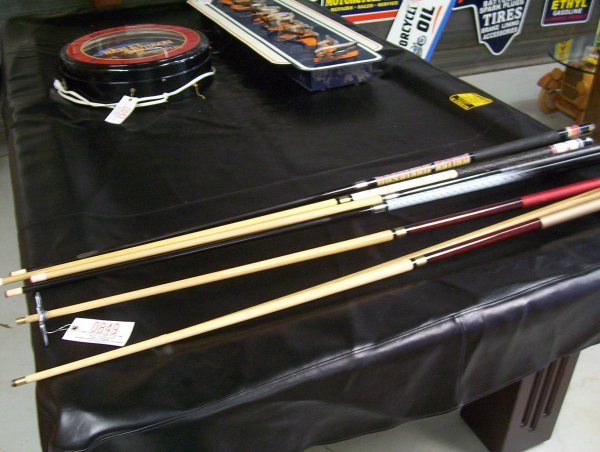 849: (7) HARLEY DAVIDSON AND OTHERS POOL STICKS 58""
