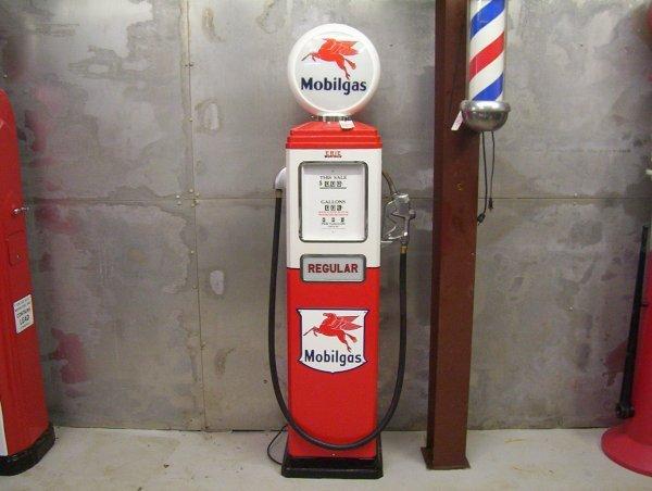 """862: ERIE GAS PUMP MOBIL GAS 16 1/2"""" X 80"""""""
