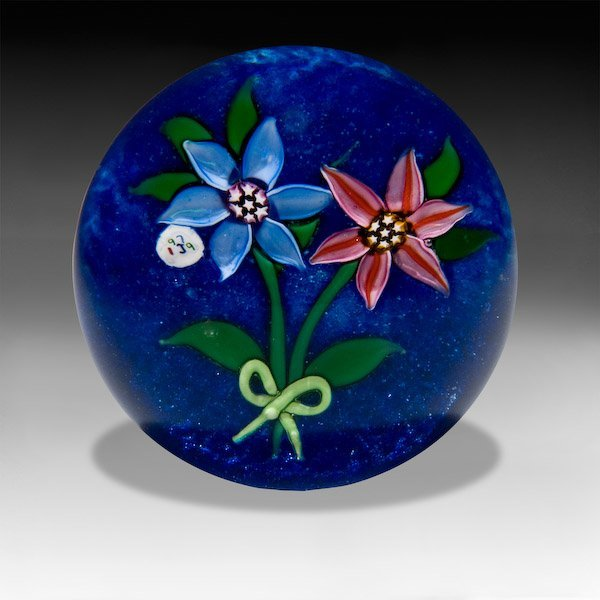 "1: ""J"" Glass 1979 clematis bouquet paperweight"