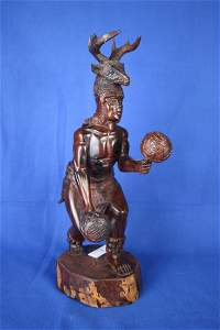 Carved Dancer w/stag head dress wood figure