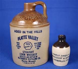 2 Stonewall Jugs & Early Times Advertising Jug