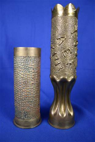 2 Decorated Trench Art Vases