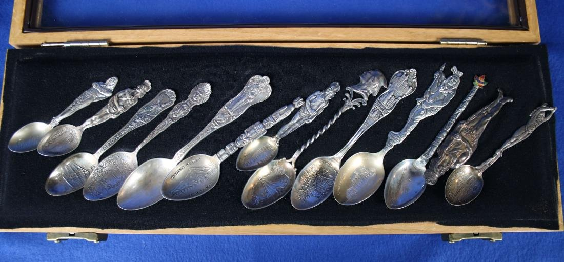 12 Sterling Silver Spoons in Glass Case