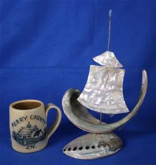 Stoneware Souvenior Mug & Sailboat