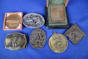 3 Medallions & 4 Belt Buckles