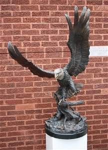 "Original Bronze Eagle Sculpture Titled ""Autumn"""
