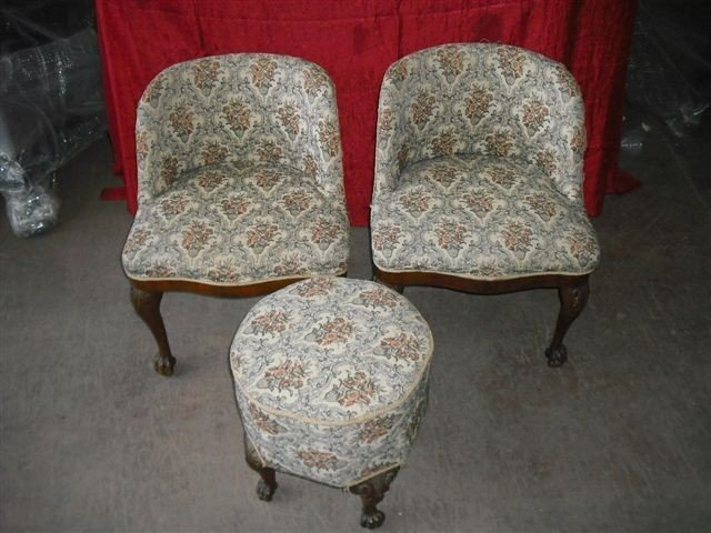 8: Floral Antique Italian Chairs w/ Ottoman