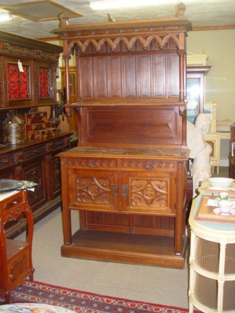 19: French Gothic Oak Marble Top Server