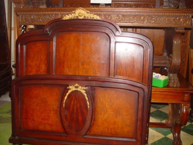 166: Bronzed French Inlaid Mahogany Bed