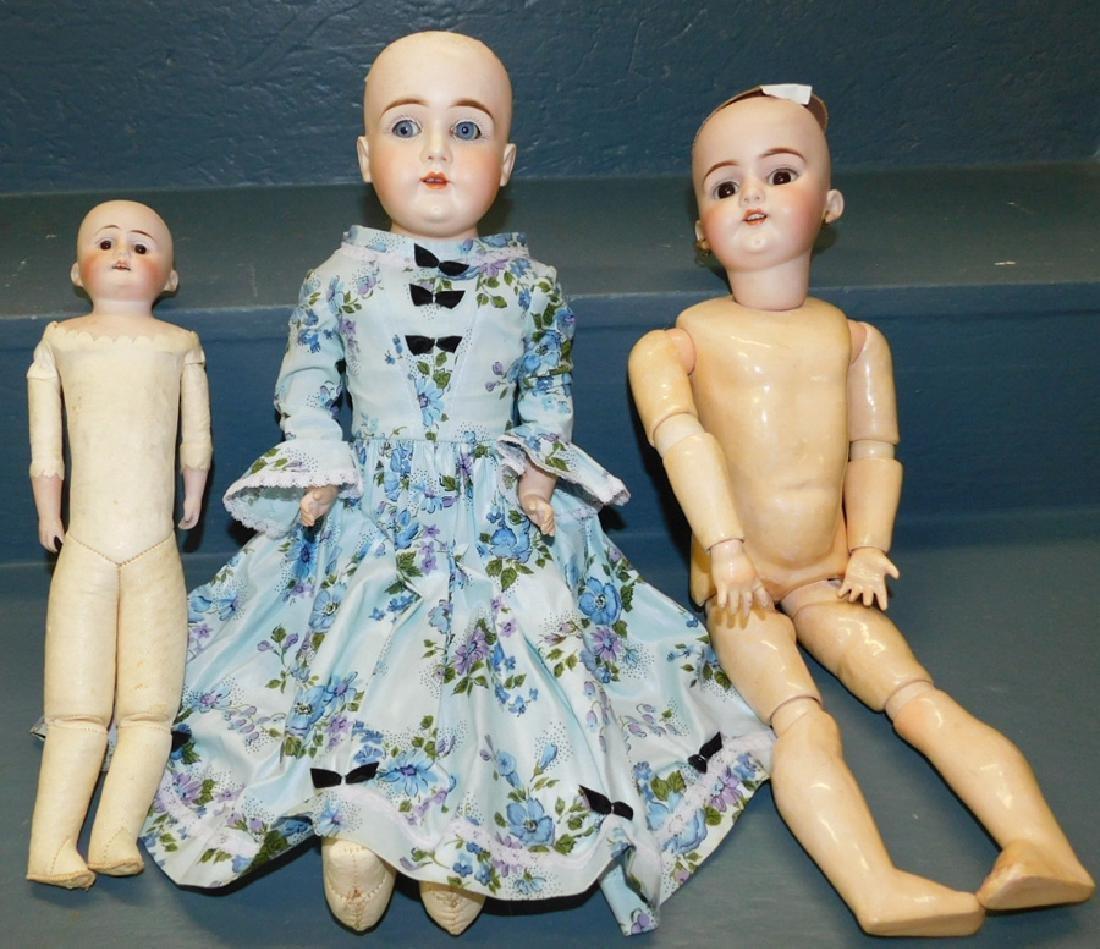 3 antique bisque head dolls, 2 w/kid bodies.