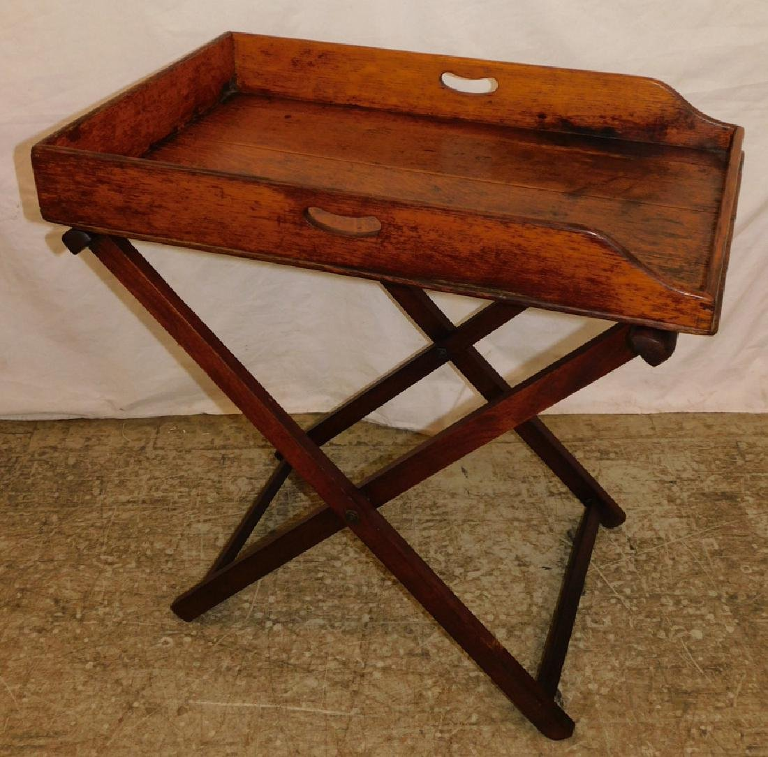19th C English oak butlers tray stand.