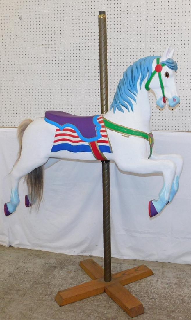 Restored 19th C Carousel horse on brass pole.