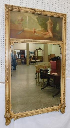 French paint decorated trumeau mirror.