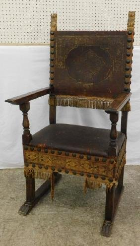 19th C fruitwood Italian leather arm chair.