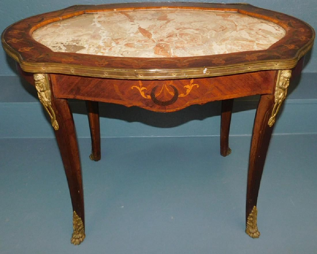 Louis XV marble inlaid coffee table.