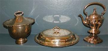 Silver plate teapot covered dish and soup tureen