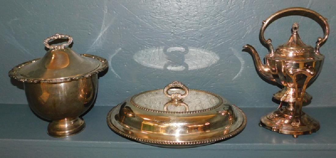Silver plate teapot, covered dish and soup tureen